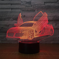 Multi Choice Cool Sports Car Auto 3D Night Light Novelty 7 Colors Changing LED Desk Table Lamp 3D Illusion Lamps For Boys Gifts