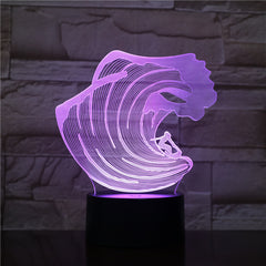 3D-1606 Surfing LED Acrylic Night Light with 7 Colors Touch Remote Control Illusion Change Home Decoration Lights