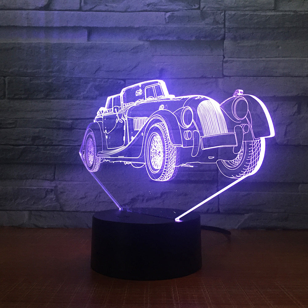 Limousine Car 3D LED Night Lamp Romantic Bedroom Table Lamp Valentines Gifts Luxury car Boys Kids Sleeping Light