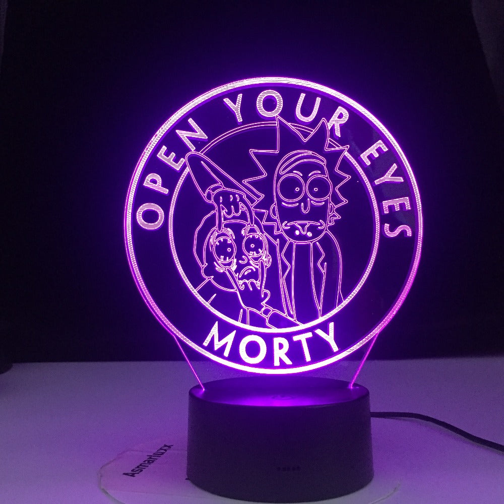 Open Your Eyes Rick and Morty Cartoon 3d LED Night Light for Children Night Lamp LED Mutilcolors Change LED Table Lamp