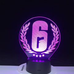 Rainbow Six Siege 3D Night Light LED Touch Sensor 7 Colors Changing Child Kids Gift FPS Game Table Lamp Rainbow 6 Logo 2878