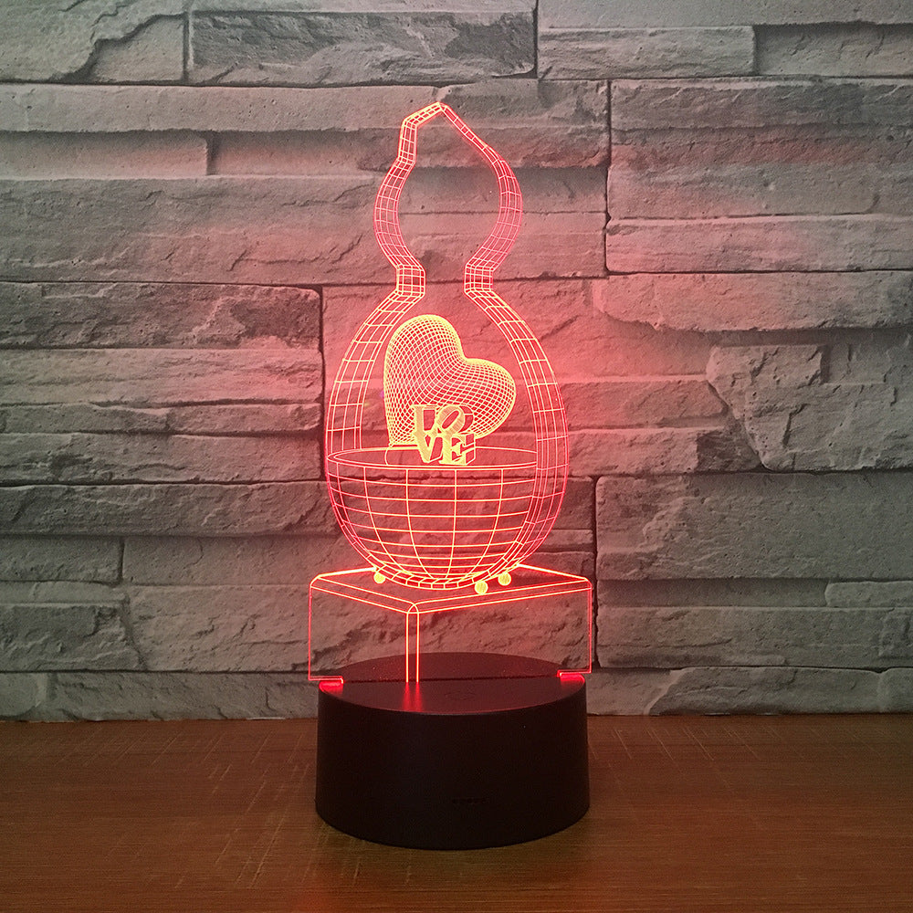 3D Creative 7 colors Night light Bedside Table Lamp 3D Touch Night Light Bedroom Party Desk Decor Lamp Girls Birthday Gift 2266