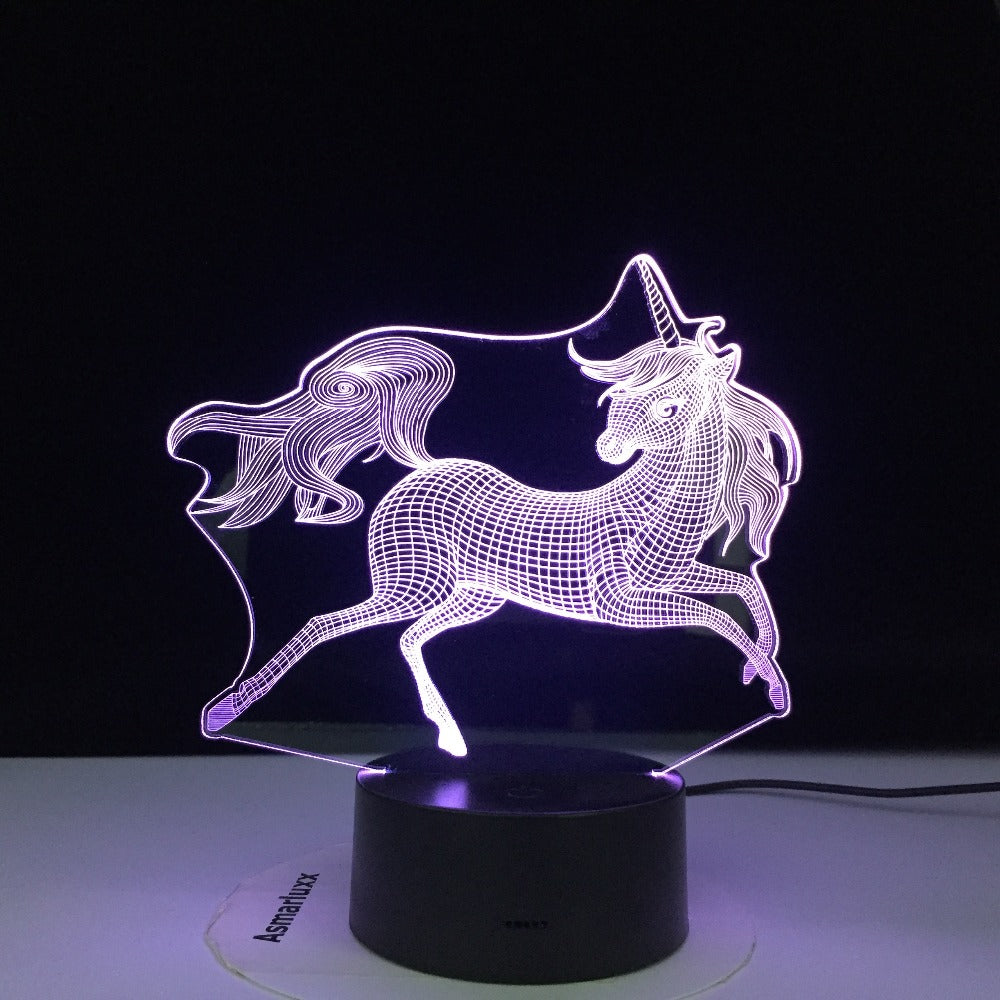 Unicorn 3D LED Night Light Unicornio Party Cartoon Lamp 7 Colors Change Baby for Bedroom Beside Lamp Baby Gifts