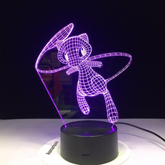 Mew Pokemon Go Lovely 3D Lamp 7 Colors Led Night Lamps For Kids Touch Led Usb Table Lampara Baby Cartoon Sleeping Nightlight