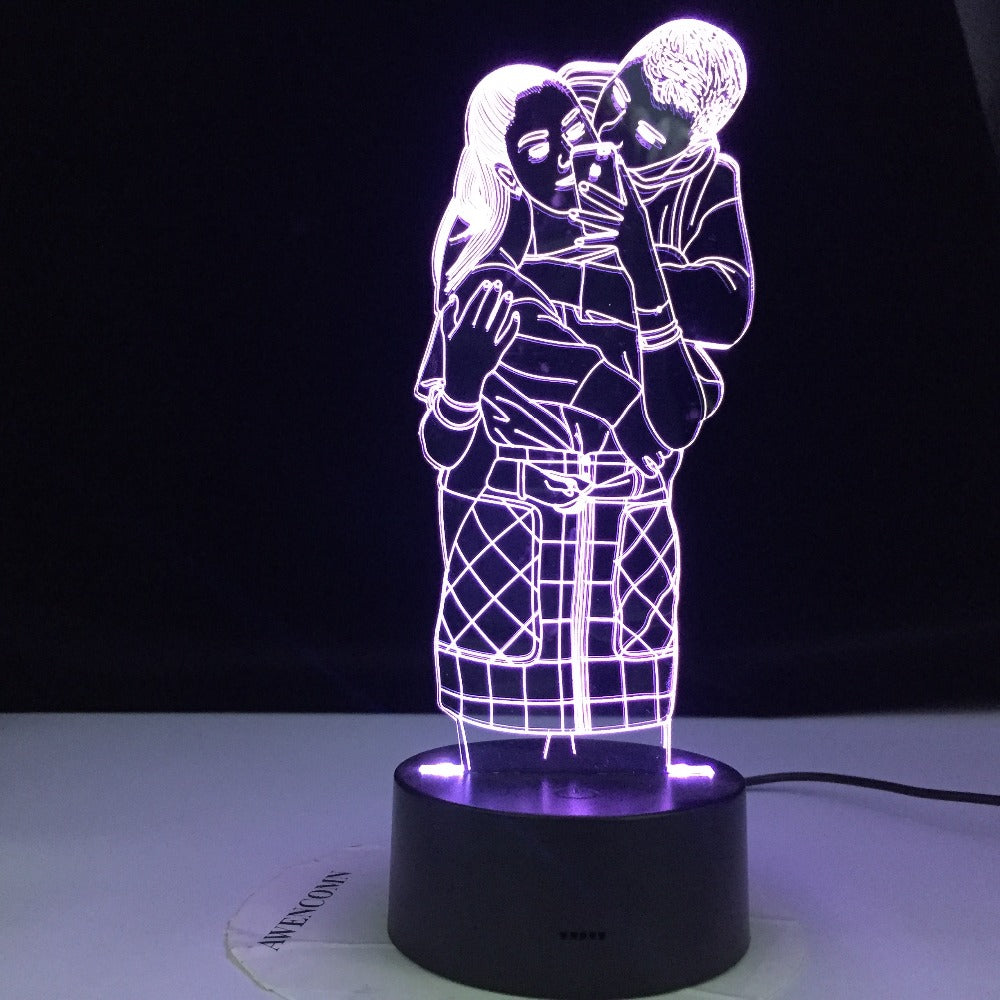 I LOVE YOU Couple Sweet Lover 3D Lamp Colorful 3d Night Light Romantic Wedding Party Decorative Atmosphere lamp