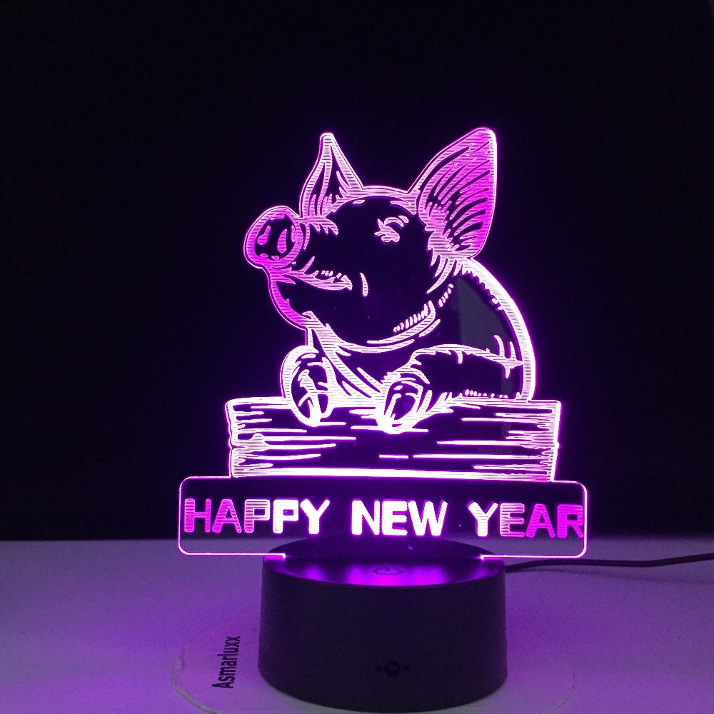 Dropshipping Happy New Year Colorful 3D LED Night Light Pig Night Light Eye Care Light Bedside Night Lamp Birthday Gift