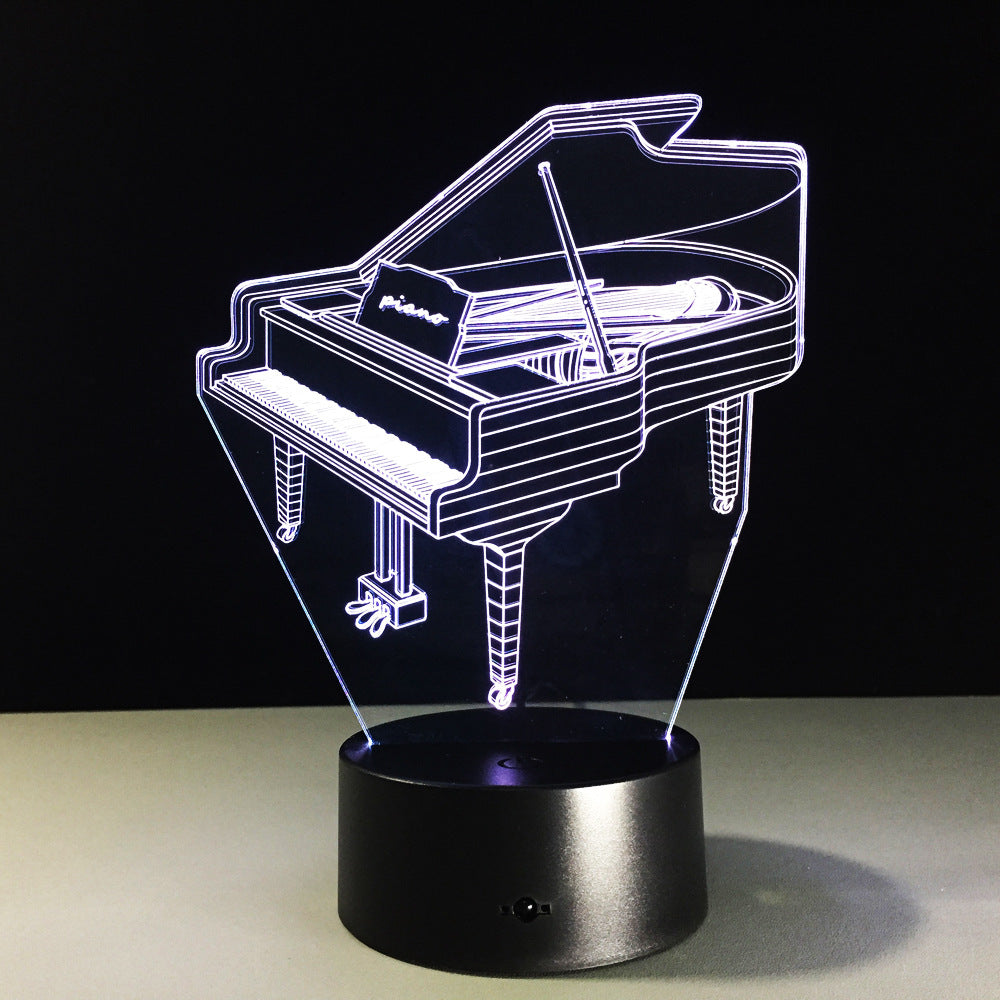 3D Piano Light Table Kids Lamp 7 Colors Changing Effect Decorative Bedroom Lights Touch USB 3AA Battery Light Music Fan's Gift
