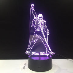 Queen Freddie Mercury 3d Night Light Touch Sensor Baby Kids Nightlight for Office Room Decorative Led Lamp Gift Dropshipping