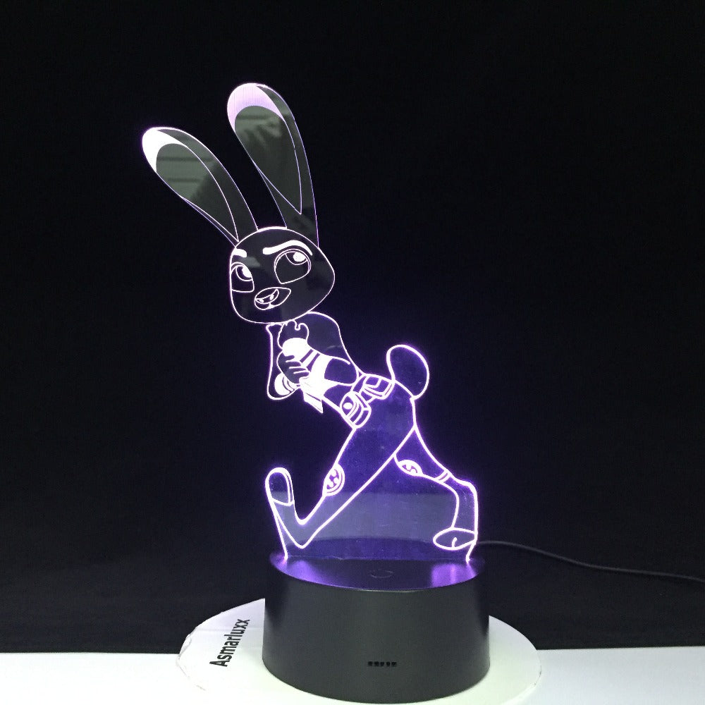 Crazy Animal City Judy Rabbit Night Light for Children Colors Changing Gift Nightlights Cartoon 3D Led Night Light Dropship 515