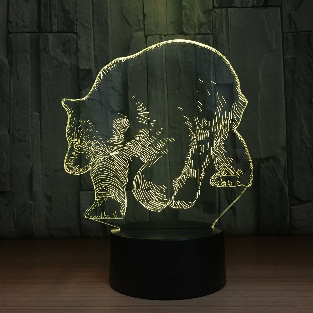 Polar Bear 3D LED Lamp 5V USB Table Lamp Night Lights 3D 7 Colors Changing Light lamp as New Year Gift For Children Friends