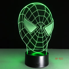 Hot Sale Superhero Figure SpiderMask 3D Lamp Multicolor Led Gradient Night Light Lampara Festival Kid Birthday Gift AW-025