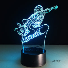 Spiderman Night Light 3D Stereo Vision Lamp Acrylic 7 Colors Changing USB Bedroom Bedside Night light Creative Desk lamp AW-030
