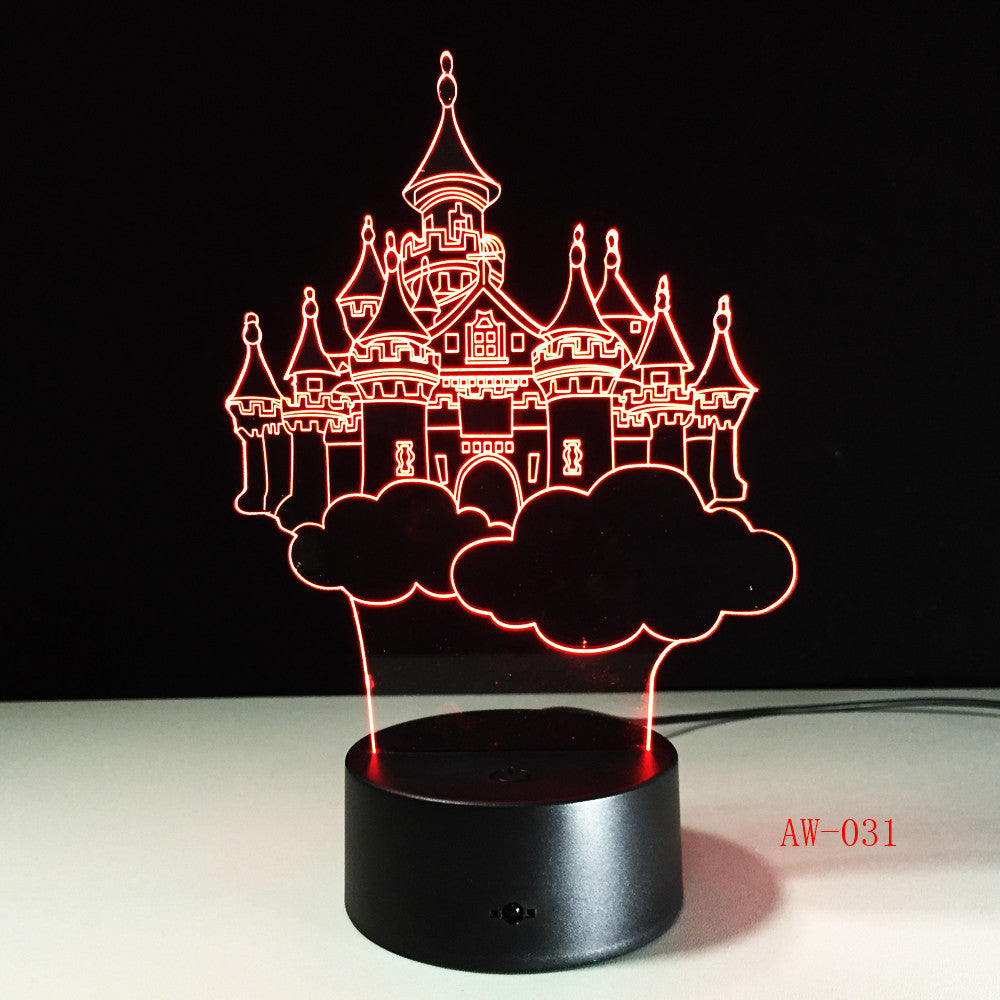 Castle Shape 3D LED Table Lamp Night Lights LED Illusion Lighting for Children Bedroom Wedding Decoration Birthdays Gift AW-031