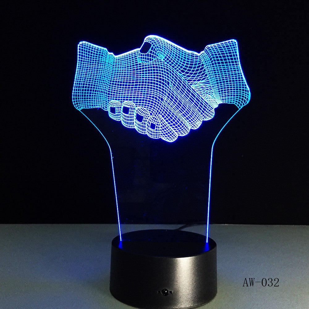 Hand Shake 3d Visual Illusion Lamp Transparent Acrylic Night Light Led Fairy Lampa Color Changing Touch Table Bulbing AW-032