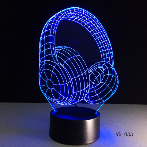 3D DJ Headphone Illlusion Lamp Studio Monitor Headset Hifi Music Earphone 3d Night Light Colorful Table Lamp Home Gift AW-033
