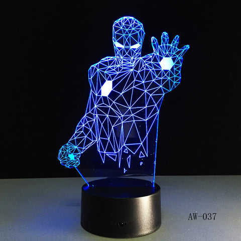 Novelty Superhero Ironman Action Figure 7 Colors Changing LED 3D Night Lamp lampada Child Table Bedroom Bedside Gifts AW-037