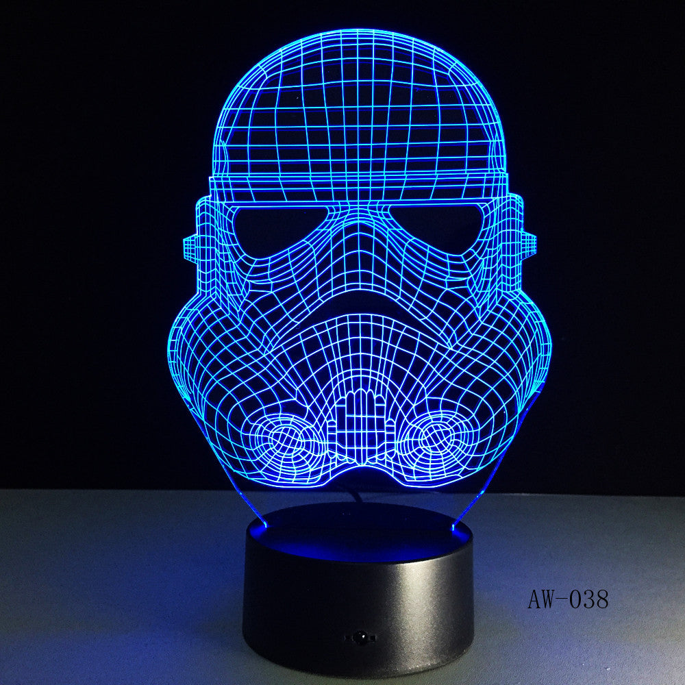 3D Night Light RC Star Wars Clone force Darth White Vader Knight Warrior Figure Toy Illusion LED USB Lamp Gradient Gift AW-038