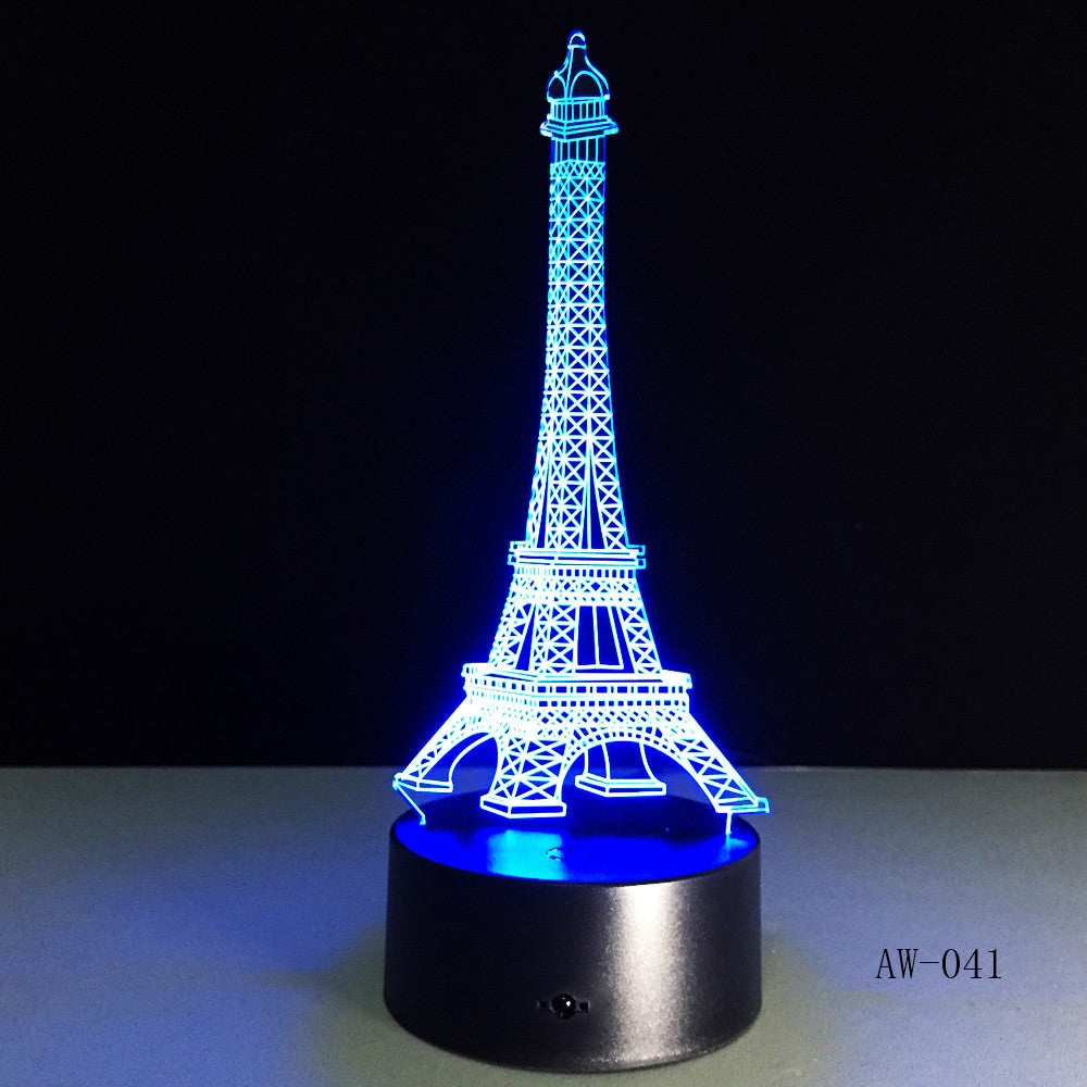 3D Night Light 7 Color Eiffel Tower Desk Lamp Remote Touch USB LED Night Light Home Decor Christmas Gift For Children AW-041
