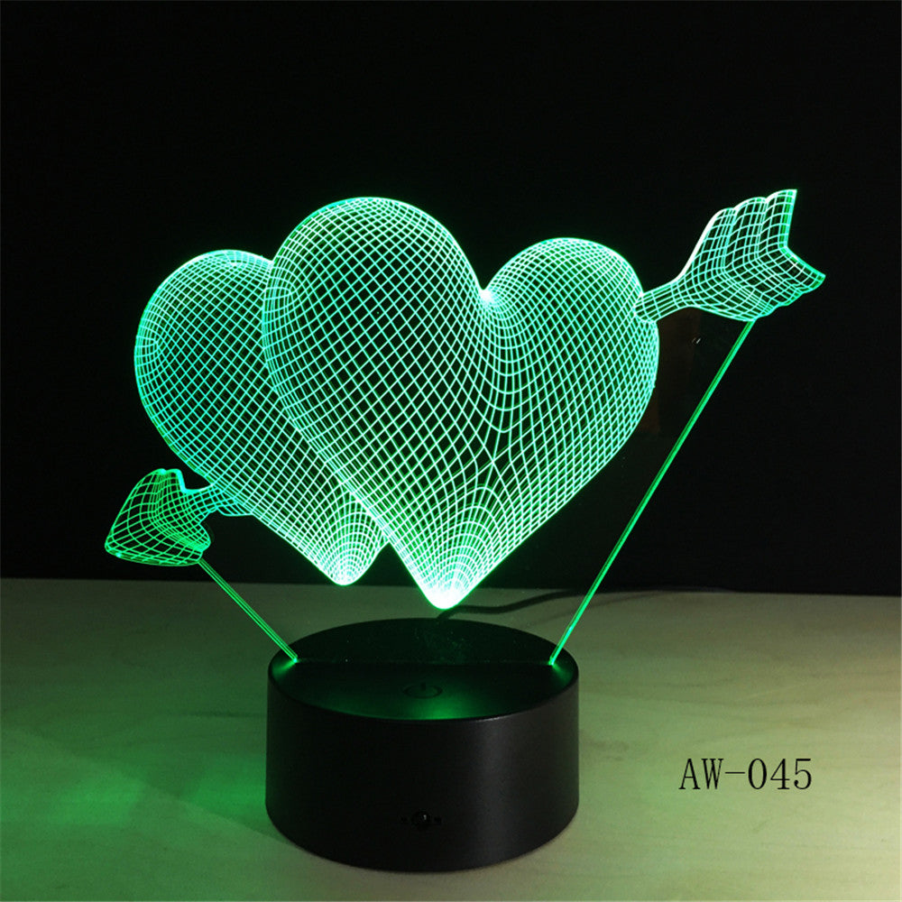 Love Romantic 3D Arrow Through the Heart LED Night Light Desk Lamp Wedding Bedroom Decor Lovers Couple Sweetheart Gift AW-045