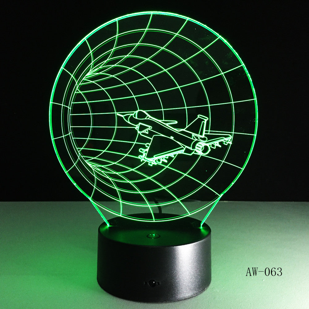 3D LED Night Lights Plane Time Tunnel 7 Colors Change Touch Switch Atmosphere Novelty Lamp for Home Decor Visual Gift AW-063