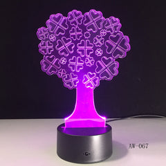 3D Visual 7 Color Nightlight USB Lucky Tree Lamparas Table Lamp Led For Kids Birthday Gift Bedside Baby Sleeping Decor AW-067