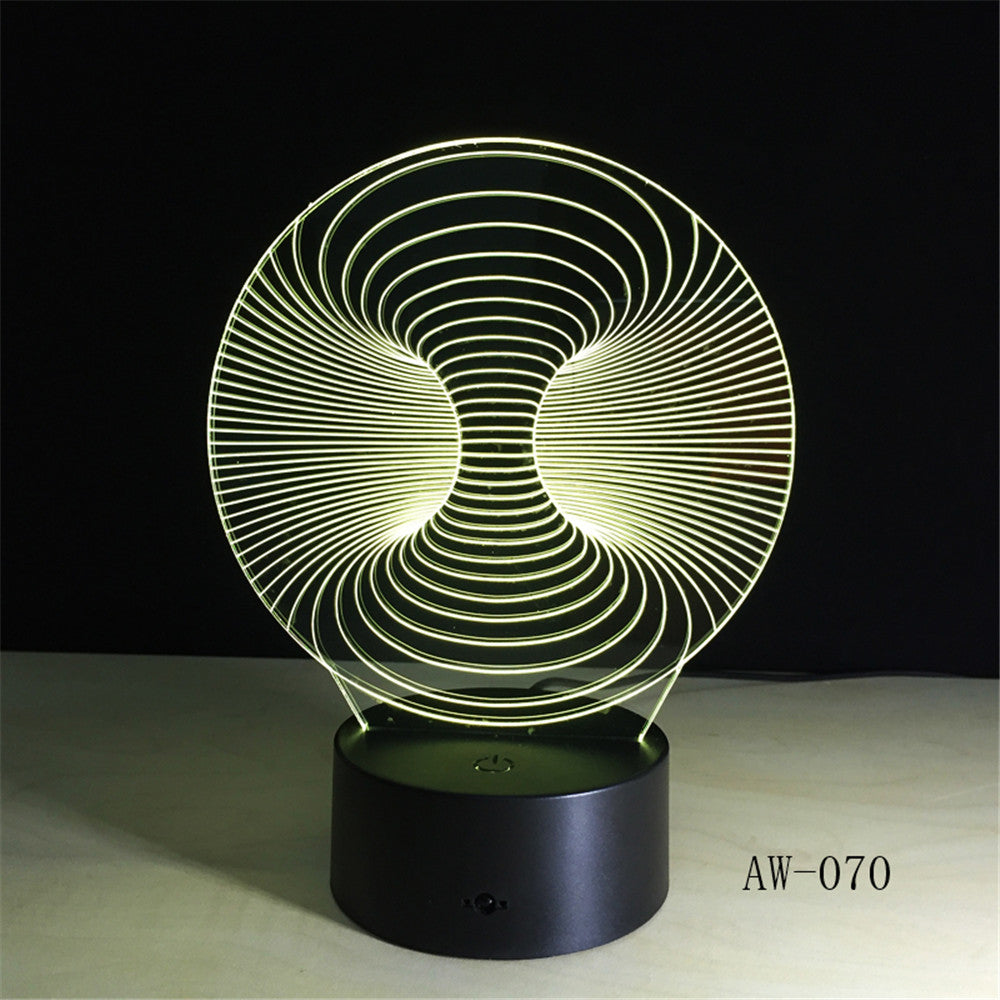 Abstract New 3D Lamp LED NightLight light Acrylic lamp Atmosphere Desk Table Decoration Lamp Novelty Lighting Drop Ship AW-070