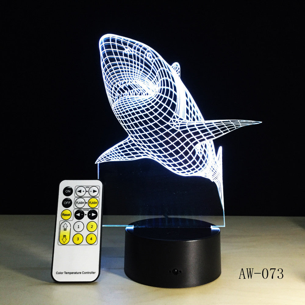 3D LED Night Lights Shark with 7 Colors Light for Home Decoration Lamp Amazing Visualization Optical Illusion Light 73