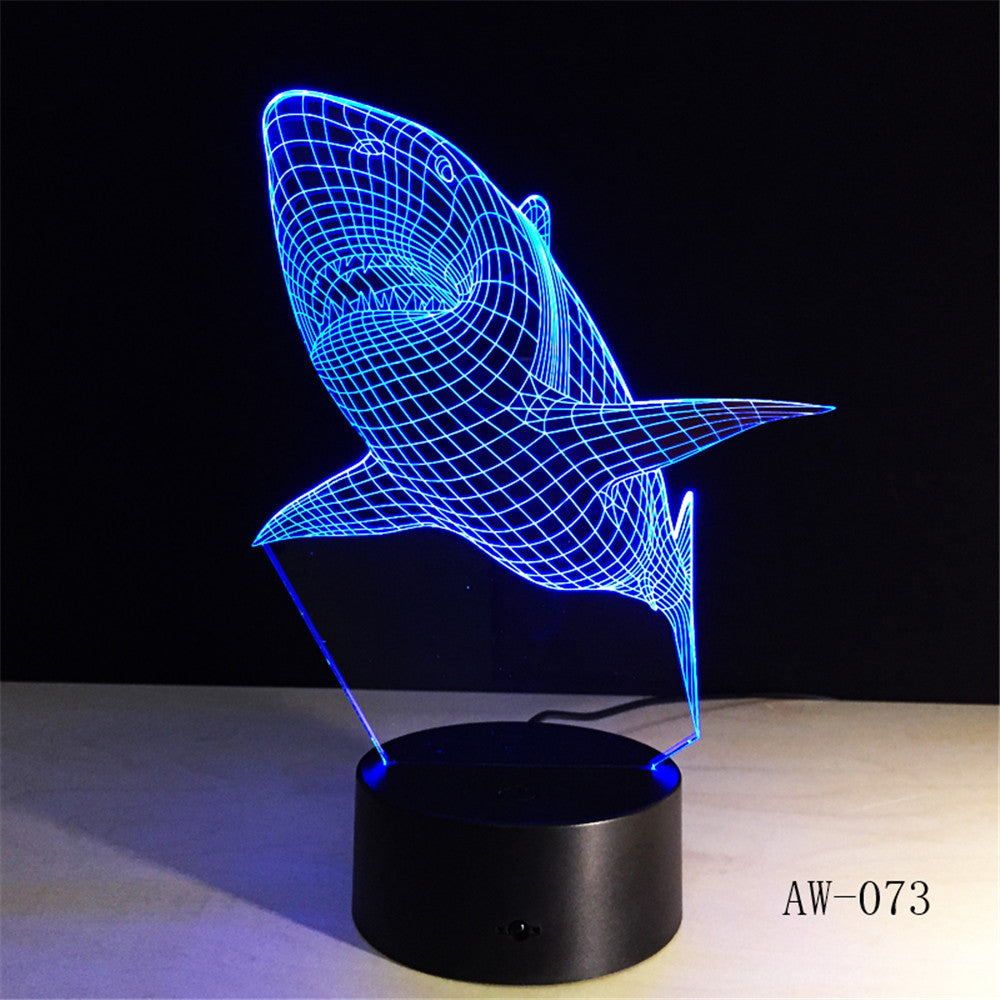 3d Led Light Night Creative Shark Kids Table Lamp Hologram Illusion Bedroom Living Room 7 Colors Usb Led Light Lamp AW-073