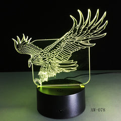 WOW Amazing Flying Big Eagle Shape Night Light Colorful Hawk 3D Table Lamp for Office Hotel Home Decor Drop Shipping AW-078