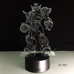 3D Cool Optimus Prime Character Boy Gift Transformers Illusion Desk Table RGB Led Night Light Colorful Lamparas Lamp AW-082