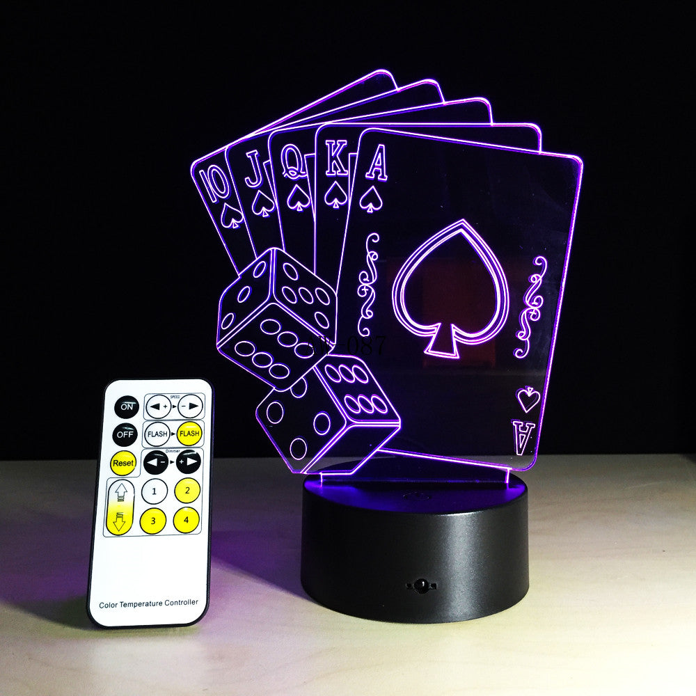 3D LED USB Lamp Magician Decoration TEXAS HOLD EM Dice Poker Spades Playing Card 7 Colors Changing RC Night Light Gift AW-087