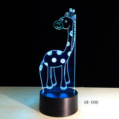 Retro Animal Decoration Reindeer 3D USB LED Lamp Elk Deer Colors Changing Romantic Gift Desk RGB Night Light Bulb AW-090
