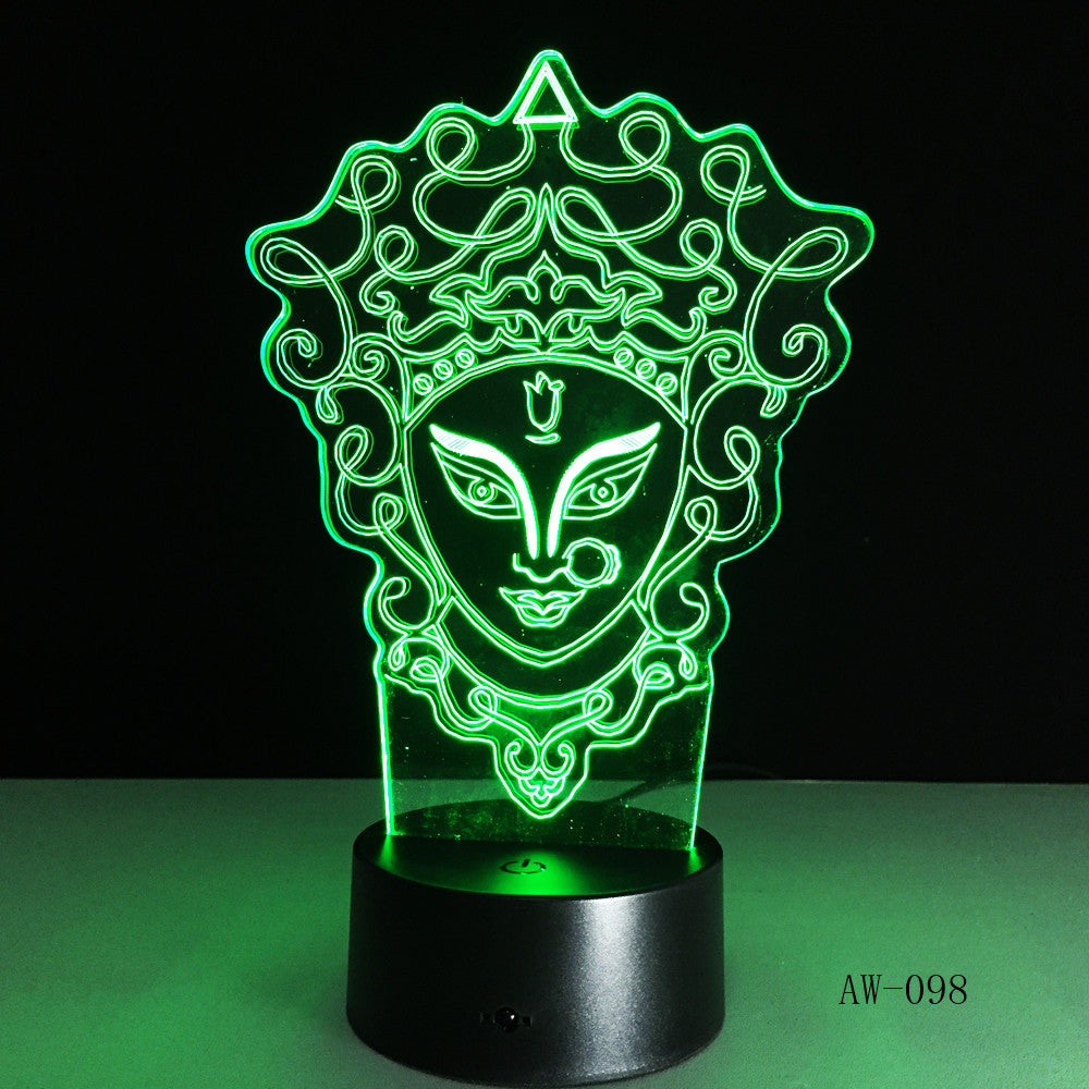 Unique Chinese Style 3D Peking Opera LED Lamp Innovative Gadget Decor 7 Colors Changing Night Light Home lighting RC Gift AW-098