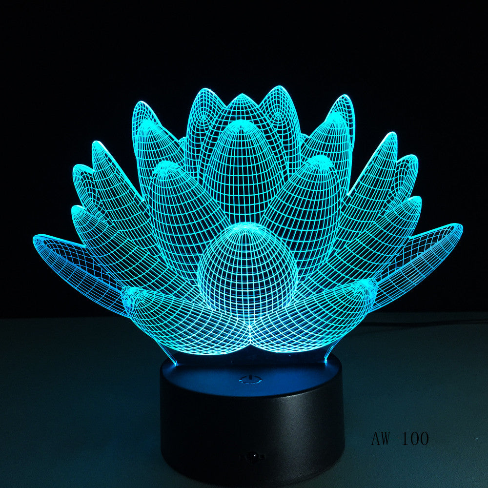 USB LED Lotus Flower Night Light 3D 7 Colors Christmas Gifts Mood Lamp Touch Kids Living/Bedroom Desk Sleeping Light AW-100