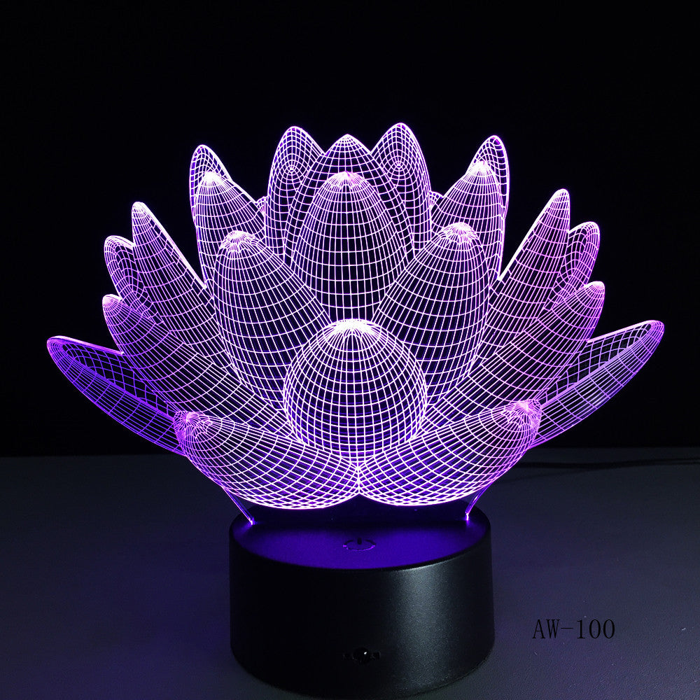 7 Color Changing Touch Lotus 3D Colorful Night Light Strange Stereoscopic Visual Illusion Lamp LED Lamp Decor Light Mood Lamp