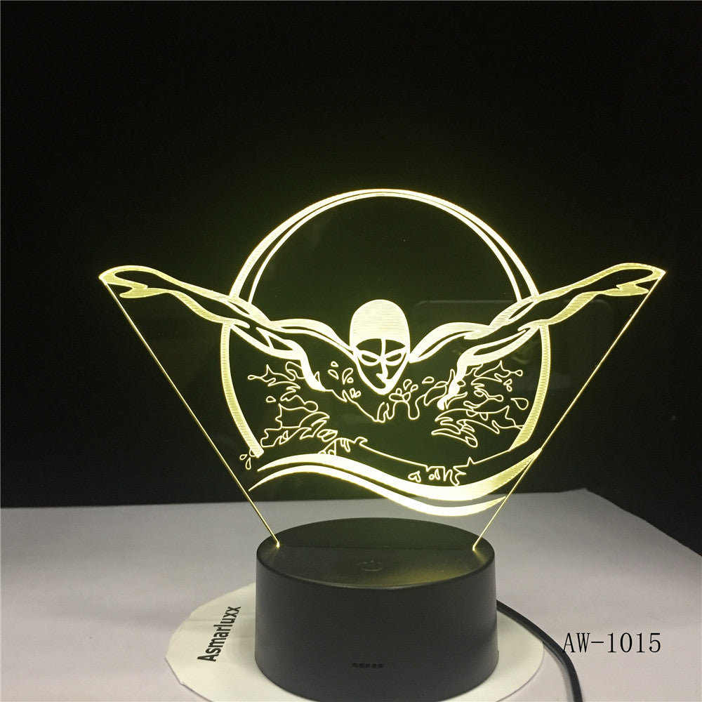 Swimming Acrylic LED 3D Night light USB 7 Color With Remote Lamp Creative Baby Sleeping Atmosphere Lamp Best Toy Gifts AW-1015
