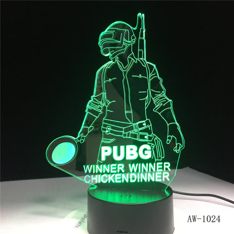 3D World Hot FPS Game Player Unknown's Battlegrounds Lamp PUBG Winner Chicken Dinner Pan 7 Colors Change LED Light Gift AW-1024