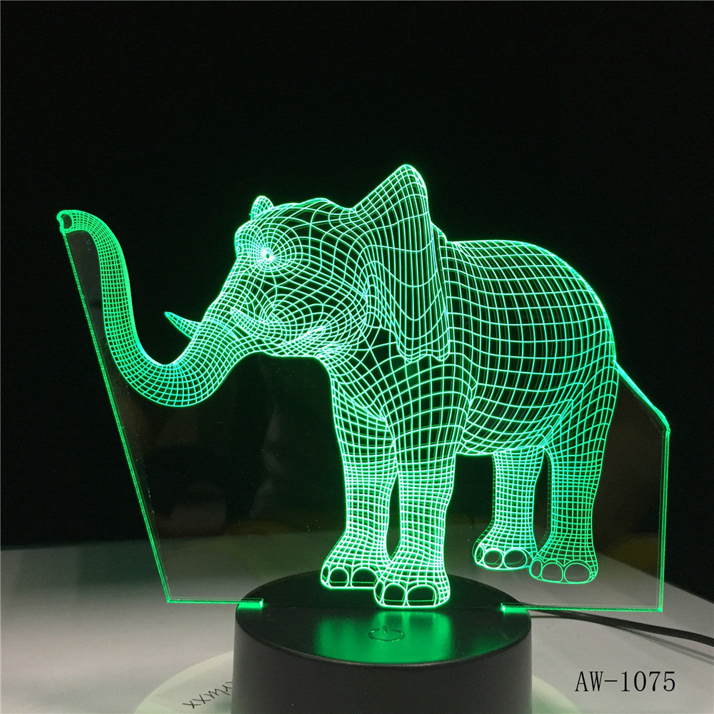Long Nose Elephant 3D LED Night Lights LED Animal Lamp 7 Colorful Changing LED Touch Table Lamp Kids Birthday Gift AW-1075