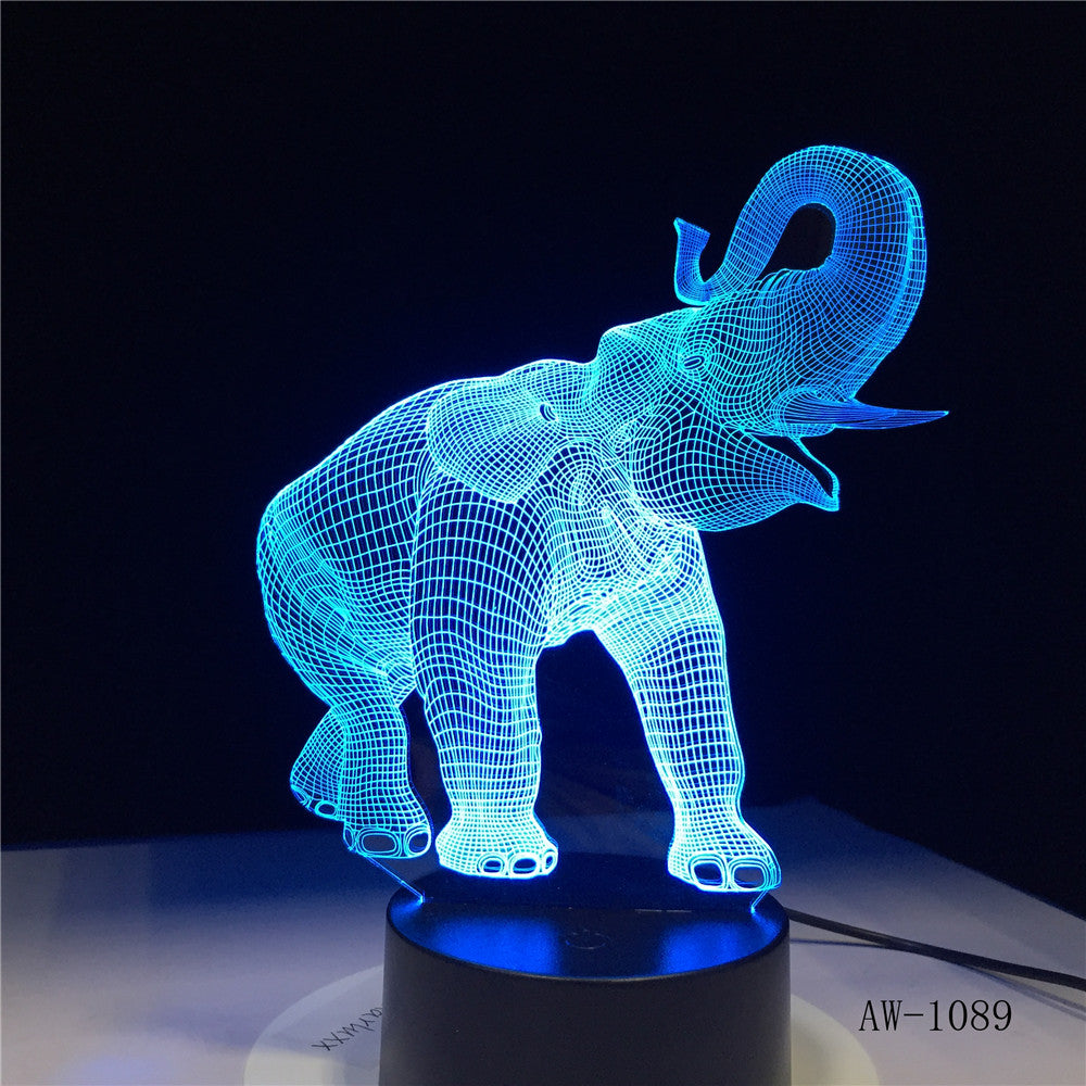 3D LED Night Light Dance Elephant with 7 Colors Light for Home Decoration Lamp Amazing Visualization Optical Illusion AW-1089