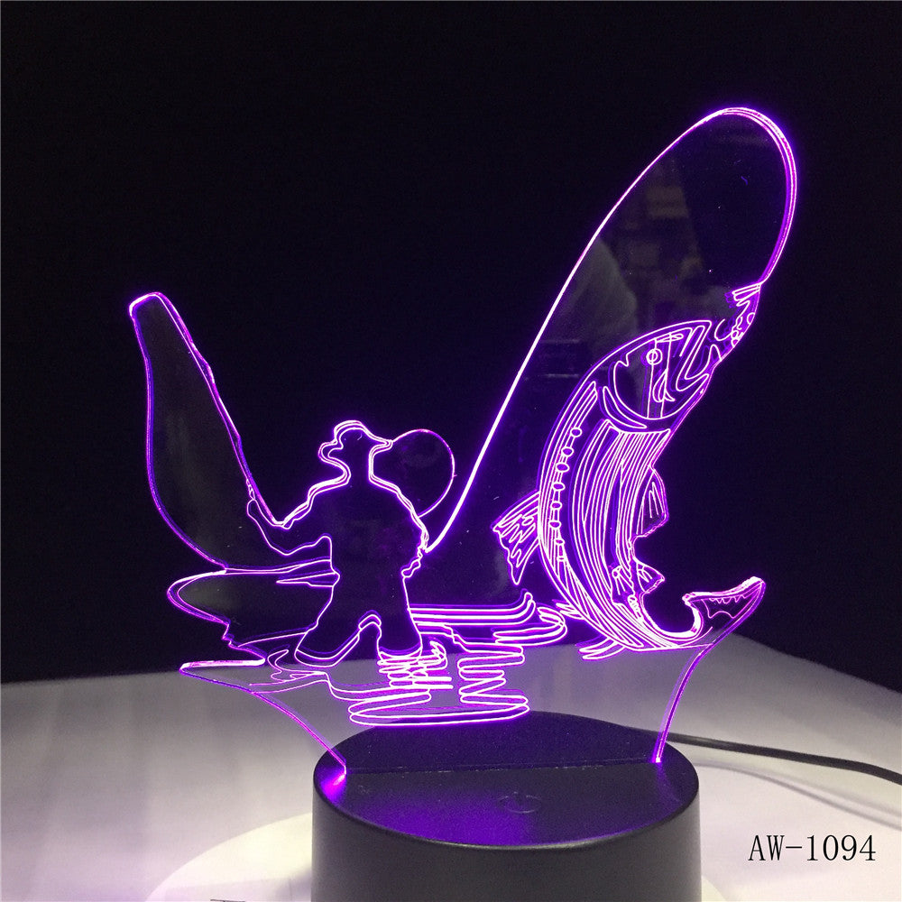 3D LED Night Light Go Fishing Fish with 7 Colors Light for Home Decoration Lamp Amazing Visualization Optical Illusion AW-1094