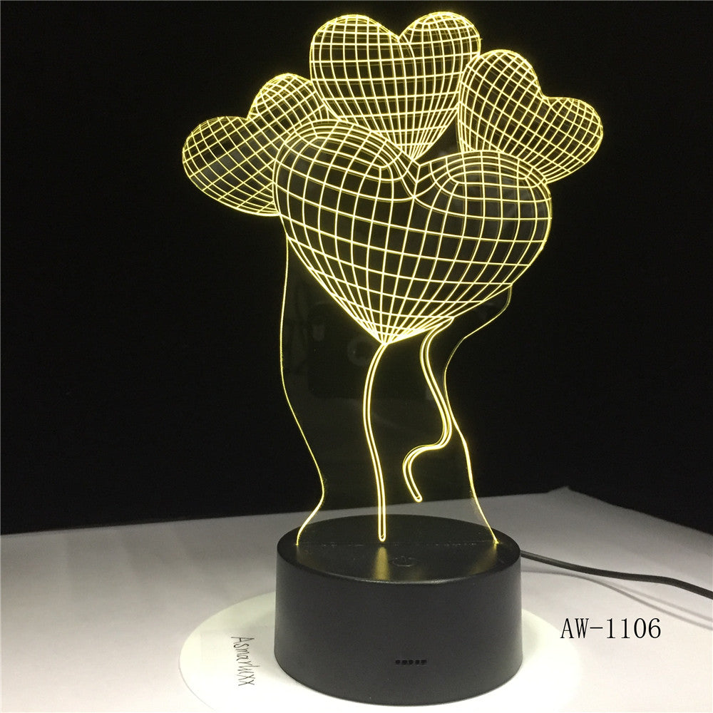 Four Love Flower Balloon Led 3d Light Fixtures Creative Home 3d Colorful Touch Acrylic Led Night Light Lovely 3D Lamp AW-1106