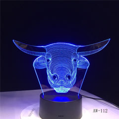 Buffalo Colorful LED 3D Night Light USB Baby Sleep Lighting Desk Table Lamp Bedroom Bedside Light Fixture Decor Kids Gift AW-112