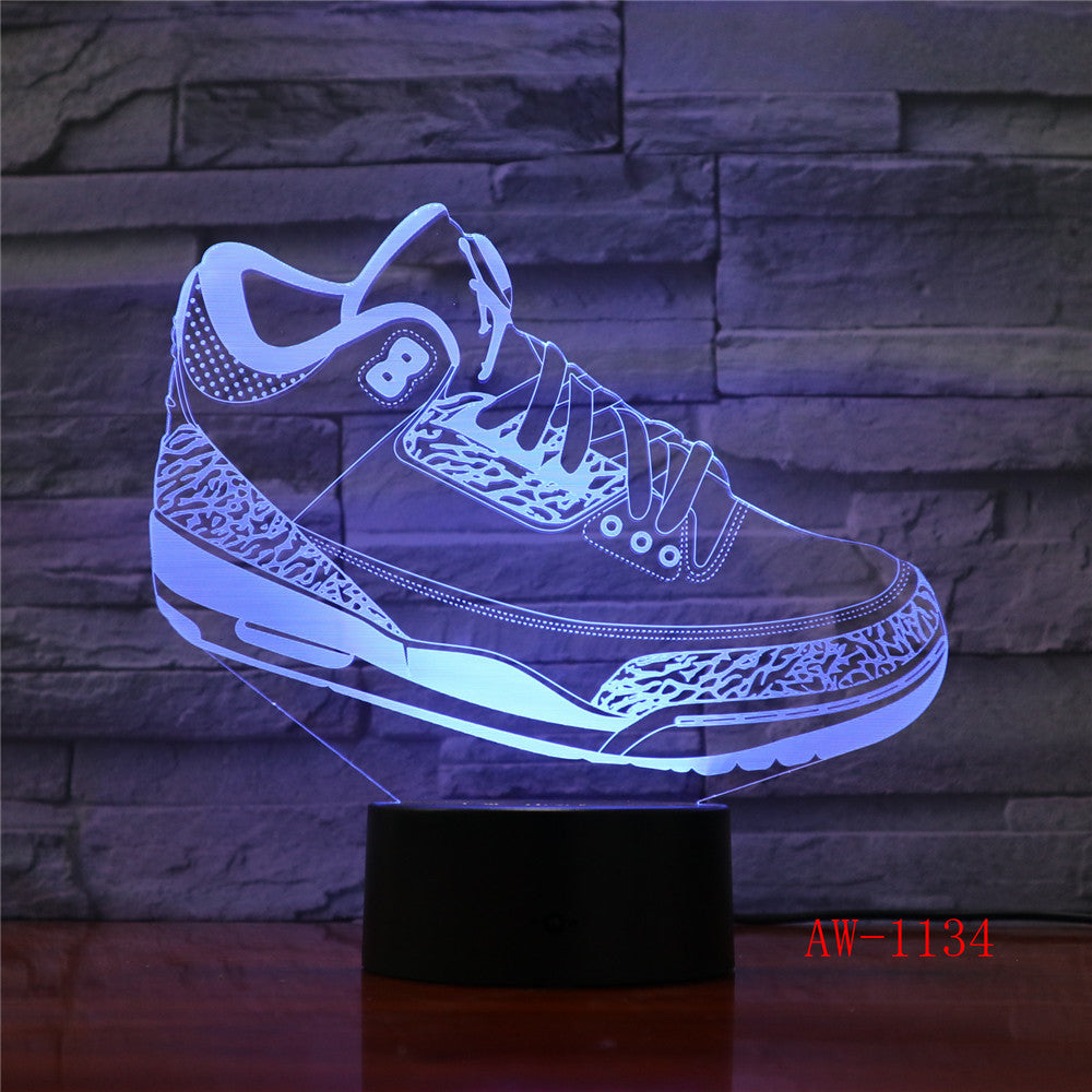 Mood Lighting Visual Casual Shoe Styling Table Lamp Kid Bedroom 3D LED Touch Switch Colorful Gradient NightLight AW-1134