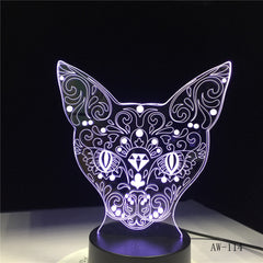 Cat 3D Night Light Animal Changeable Mood Lamp 7 Colors USB 3D Illusion Table Lamp For Home Decorative As Kids Toy Gift AW-114