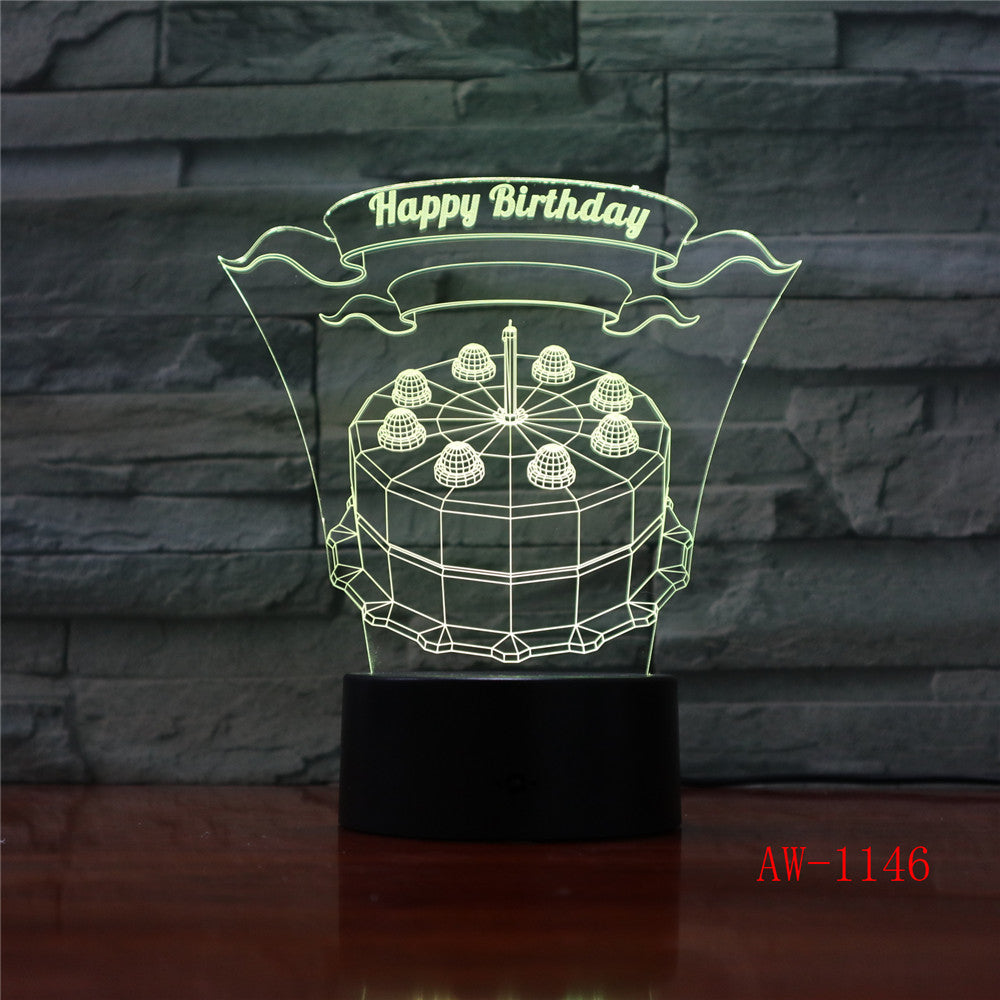 Happy Birthday Cake LED 3D Visual Lamp 7 Colors Changing Indoor Bedroom Night Light Acrylic Desk Lamp Love Present AW-1146