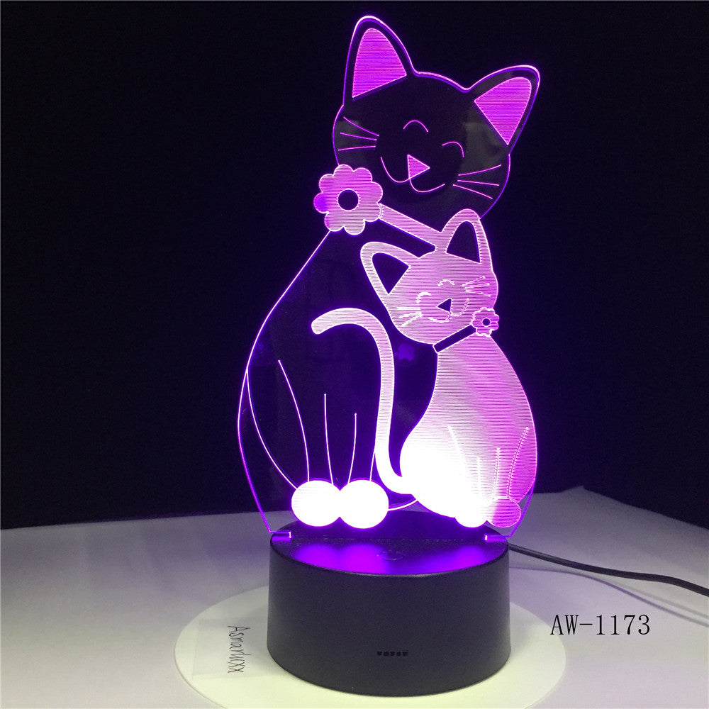 3D Cosy Lying Down Leisure Cat LED Night Light USB Touch 7 Colorful Light Children Bedroom Lamp Baby Kids Party Gifts AW-1173