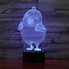Thumb Up Cute Cartoon Chick 3D Night Lamp Room Table Desk Lamp Modelling LED USB Changing Night Light Decor Gift AW-1177