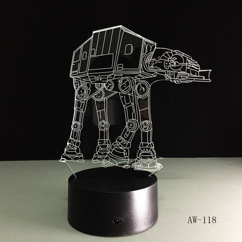 USB Novelty Night Light Imperial Walker AT-AT Star Wars 3D Bulbing Desk Table Lamp Led Stick Touch Engraving USB Led Lamp AW-118
