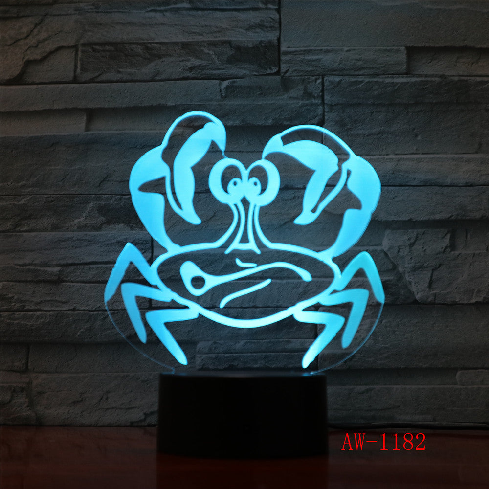 3D USB Children'S Bedside Sleep Led Decoration Creative Night Lights 7 Colors Visual Crab Table Lamp Lighting Toy Gifts AW-1182