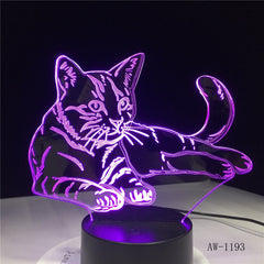 Lovely Sleeping Cat 3D Night Light Animal Lamp Remote Touch Switch LED 7 Colors LED USB 3D Illusion Lamp As Kids Toy Gift